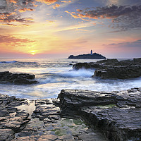 Buy canvas prints of Sunset at Godrevy by Andrew Ray