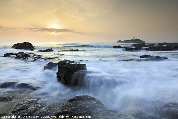Setting Sun at Godrevy Canvas print by Andrew Ray
