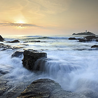 Buy canvas prints of Setting Sun at Godrevy by Andrew Ray