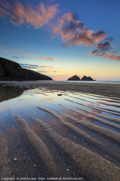 Sand Ripples on Holywell Beach Canvas Print by Andrew Ray