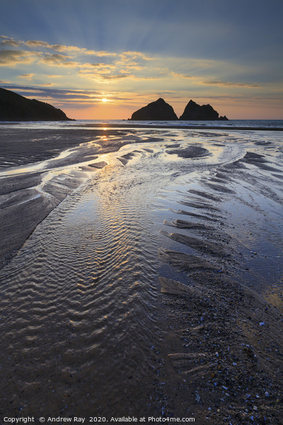 Towards the Setting Sun (Holywell Bay) Canvas Print by Andrew Ray