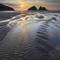 Buy canvas prints of Towards the Setting Sun (Holywell Bay) by Andrew Ray