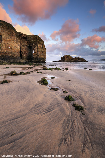 Sunrise at Perranporth Arch Canvas Print by Andrew Ray