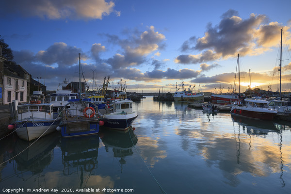 Sunrise Reflections at Padstow Canvas Print by Andrew Ray