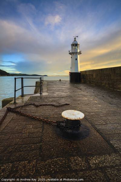Mevagissey Lighthouse Canvas Print by Andrew Ray