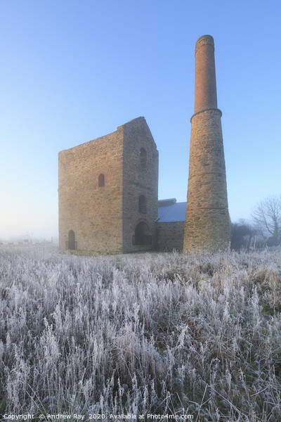 Frosty morning (Wheal Busy) Canvas Print by Andrew Ray