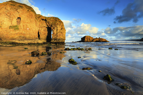 Arch reflections (Perranporth) Canvas Print by Andrew Ray