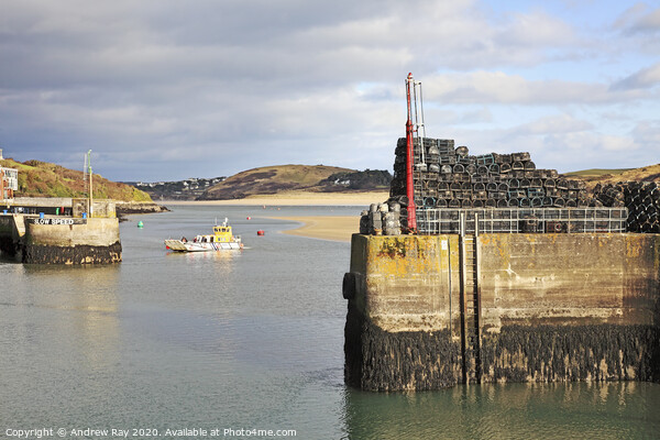Padstow Outer Harbour Canvas Print by Andrew Ray