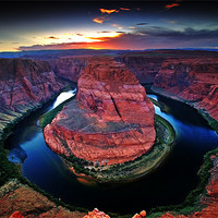 Buy canvas prints of Horseshoe Bend during sunset by Amit Saha