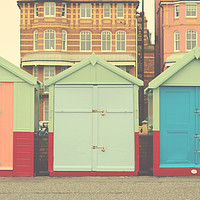 Buy canvas prints of Brighton Beach huts  by chrissie Judge