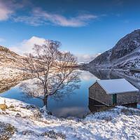 Buy canvas prints of Winter reflection Llyn Ogwen. by Jonathon barnett