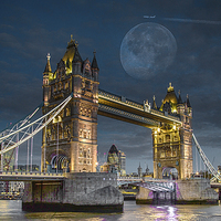 Buy canvas prints of  Moon over Tower bridge by peter wyatt