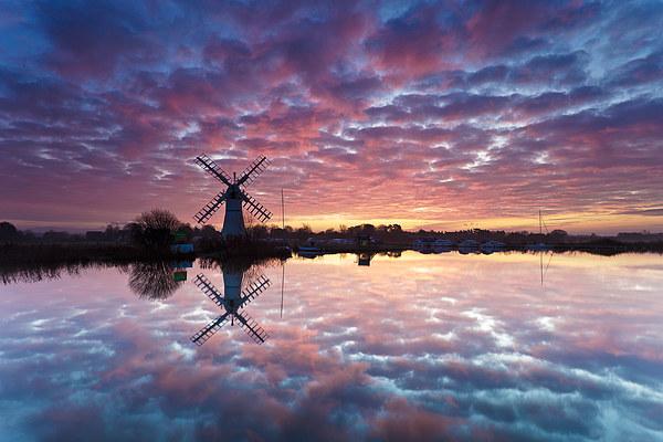Thurne Windmill at Sunrise, Norfolk Broads. Canvas print by Richard Bowden
