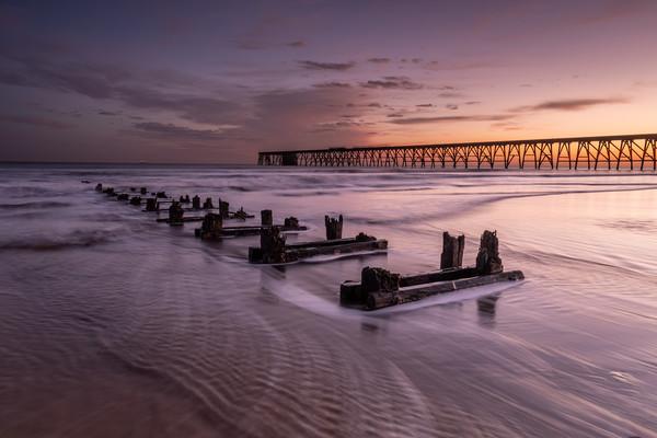 Steetley Pier sunrise Framed Mounted Print by