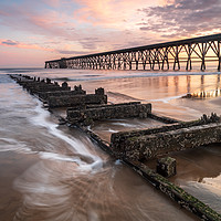 Buy canvas prints of Steetley Pier at sunrise by Marcia Gain