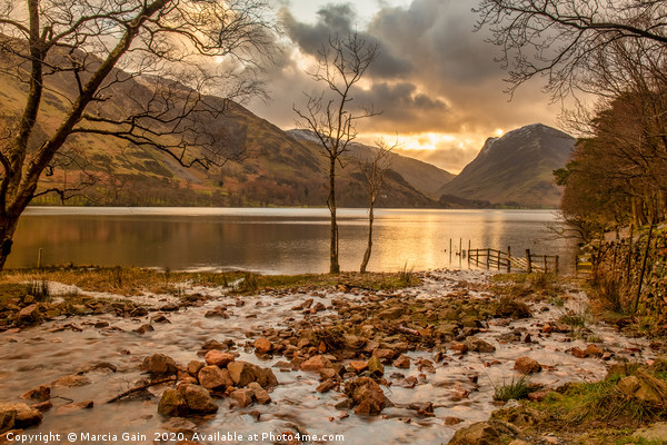 Buttermere at sunrise Framed Mounted Print by Marcia Gain