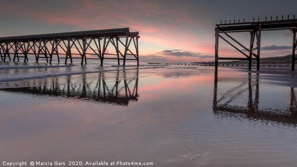 Steetley Pier sunrise Framed Mounted Print by Marcia Gain