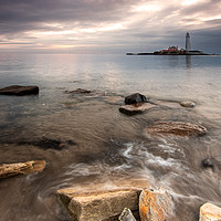 Buy canvas prints of St Mary's lighthouse at sunrise by Marcia Gain