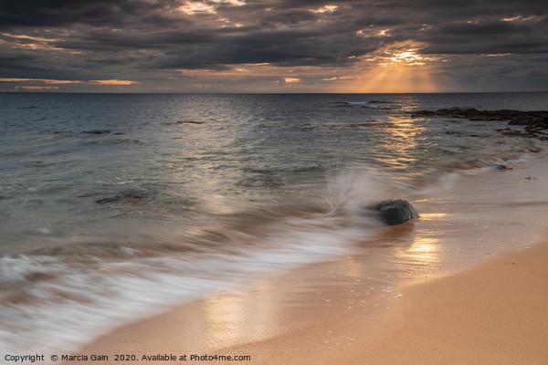 Northumberland coast at sunrise Framed Mounted Print by Marcia Gain