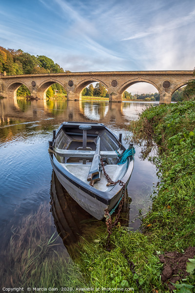 Boat on the River Tweed  Canvas Print by Marcia Gain
