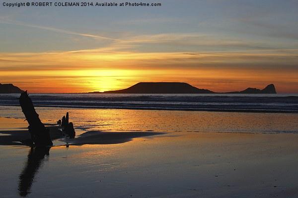 Rhossili Sunset Canvas print by ROBERT COLEMAN