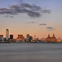 Buy canvas prints of  Liverpool Sunset Skyline by Beth McAllister