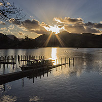 Buy canvas prints of Last Light Over Derwentwater by Peter Yardley
