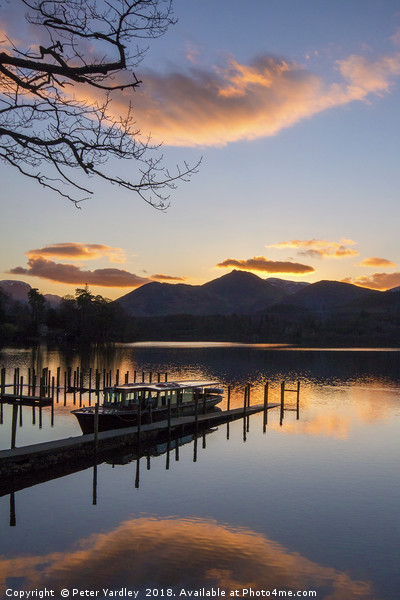 Sunset at Derwentwater Canvas print by Peter Yardley