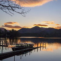 Buy canvas prints of Sunset at Derwentwater by Peter Yardley