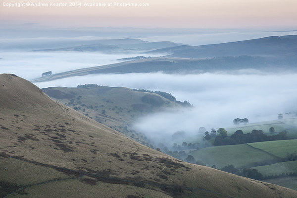 Pastel colours in a Peak District dawn Canvas print by Andrew Kearton