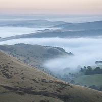 Buy canvas prints of  Pastel colours in a Peak District dawn by Andrew Kearton