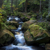 Buy canvas prints of  Wyming Brook, Sheffield, in autumn by Andrew Kearton