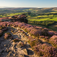 Buy canvas prints of Sunset at the Worm Stones, Glossop by Andrew Kearton