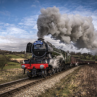 Buy canvas prints of Flying Scotsman heading up Esk Valley by David Oxtaby