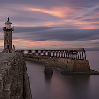 Buy canvas prints of Whitby Harbour at dusk by David Oxtaby