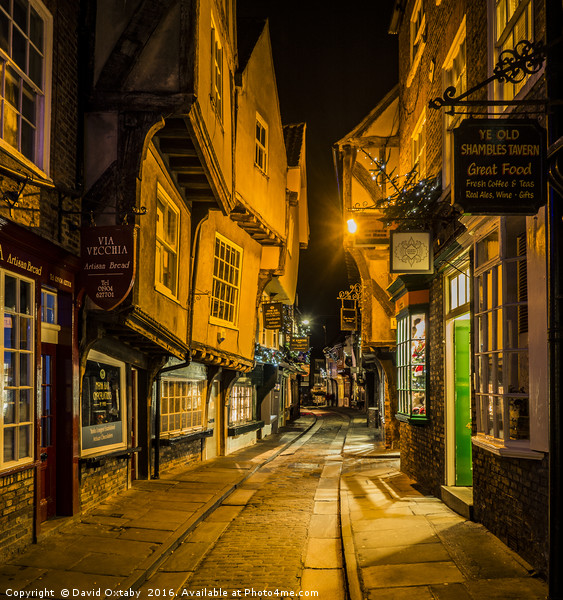 The Shambles at Christmas Canvas print by David Oxtaby