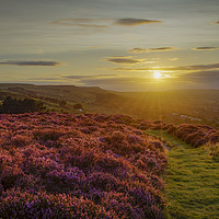 Buy canvas prints of The sun setting over Ilkley Moor by David Oxtaby