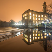 Buy canvas prints of Saltaire on a misty night by David Oxtaby