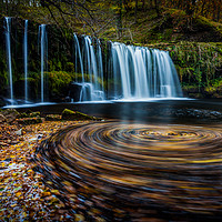Buy canvas prints of Upper Gushing Falls, Waterfall, Wales by Jonathan Smith