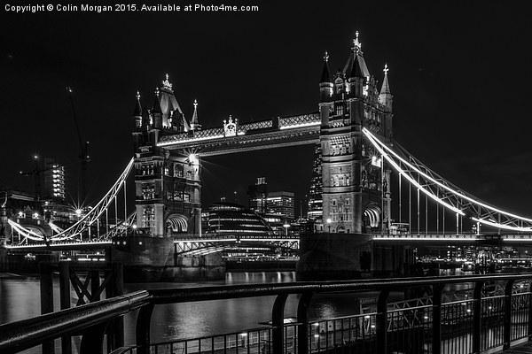 Tower Bridge London Night Mono Canvas print by Colin Morgan