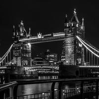 Buy canvas prints of  Tower Bridge London Night Mono by Colin Morgan