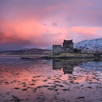Buy canvas prints of Eilean Donan Castle at sunrise by Gail Johnson