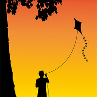 Buy canvas prints of Childhood dreams, The Kite by John Edwards