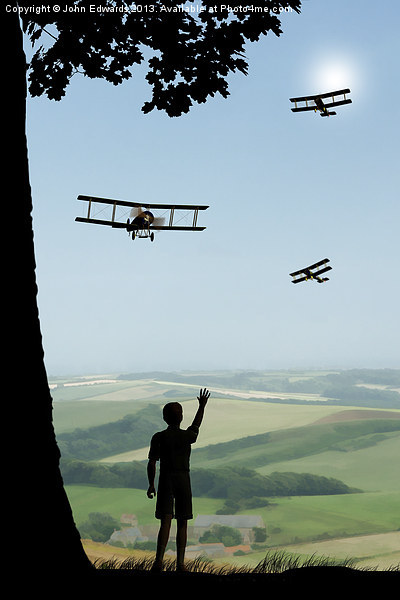 Childhood Dreams - The Flypast Canvas print by John Edwards