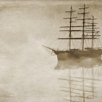 Buy canvas prints of Morning mist in sepia by John Edwards