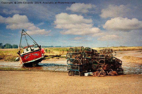 Whitby Crest and Lobster Pots Canvas print by John Edwards