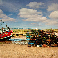 Buy canvas prints of Whitby Crest and Lobster Pots by John Edwards