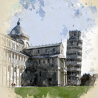 Buy canvas prints of The Duomo and The Leaning Tower by John Edwards