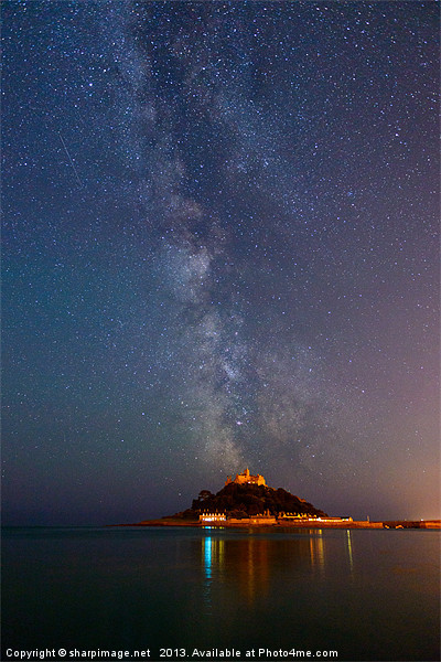 Milky Way above St Michaels Mount Canvas print by sharpimage.net