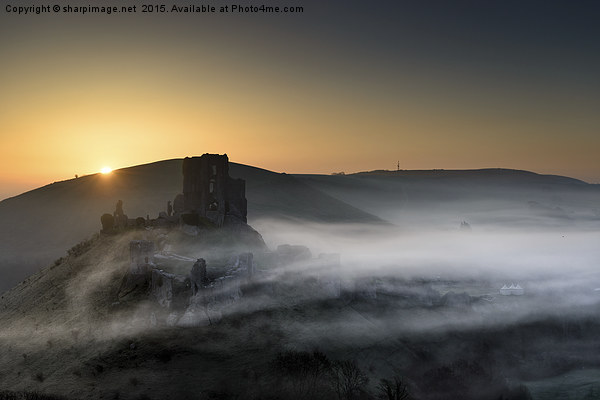 Corfe Castle through the mist  Canvas print by sharpimage.net